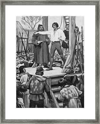 Execution Of Warbeck Framed Print by Hulton Archive