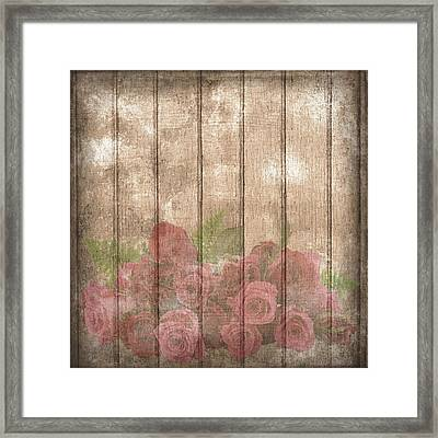 Faded Red Country Roses On Wood Framed Print