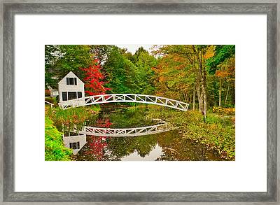 Fall Footbridge Reflection Framed Print