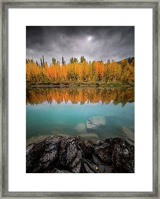 Framed Print featuring the photograph Fall Reflection / Flathead River // Glacier National Park  by Nicholas Parker