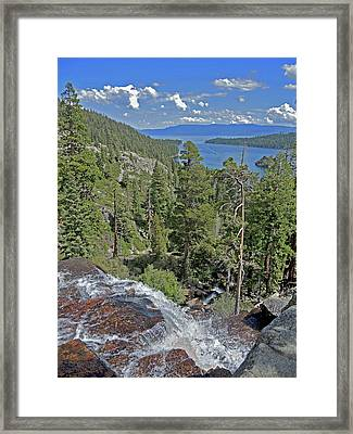 Framed Print featuring the photograph Falls Above Emerald Cove by Lynda Lehmann