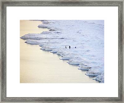 Family By Frozen Lake Framed Print by By Ken Ilio