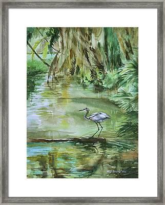 Far Harbor Heron Framed Print