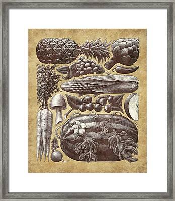 Farmer's Market - Sepia Framed Print