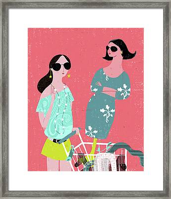 Fashion Woman Holding Trolley Framed Print by Luciano Lozano