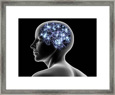 Female Head And Nerve Cells, Artwork Framed Print by Pasieka