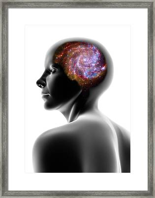 Female Head And Spiral Galaxy Framed Print by Pasieka