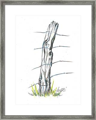 Fence Post Colored Pencil Sketch  Framed Print