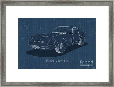 Ferrari 250 Gto - Front View - Stained Blueprint Framed Print