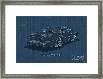 Ferrari 288 Gto - Front View - Stained Blueprint Framed Print