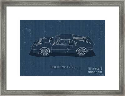 Ferrari 288 Gto - Side View - Stained Blueprint Framed Print