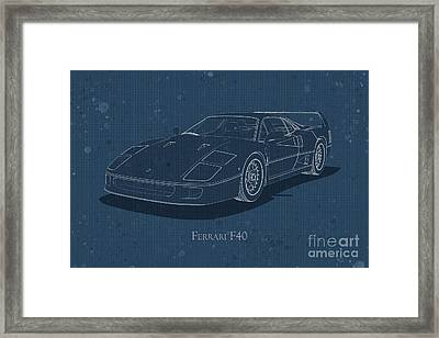 Ferrari F40 - Front View - Stained Blueprint Framed Print