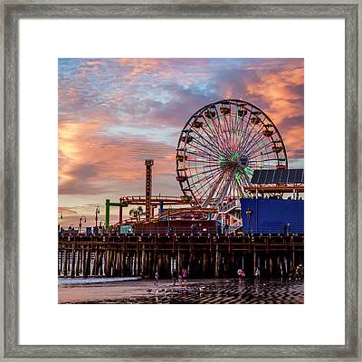 Ferris Wheel On The Pier - Square Framed Print