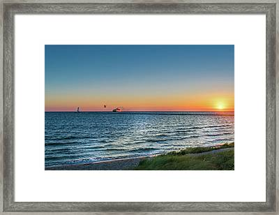 Ferry Going Into Sunset Framed Print