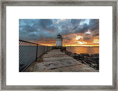 Fiery Skies At Bug Light Framed Print