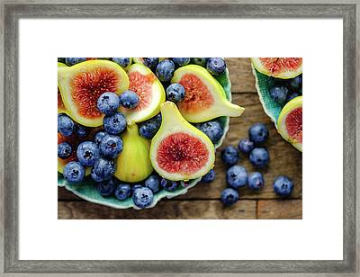 Figs And Blueberries Framed Print