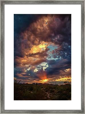 Finger Painted Sunset Framed Print