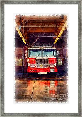 Fire Engine Watercolor Framed Print