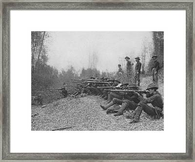 Firing On Insurgents Framed Print by Hulton Archive