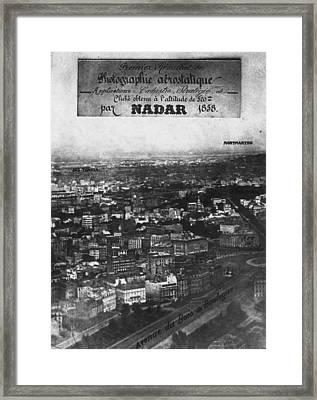 First Aerial Photo Framed Print by Nadar