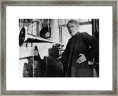 First Phonograph Framed Print by Hulton Archive