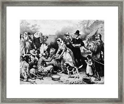First Thanksgiving Dinner Illustration Framed Print by American Stock Archive
