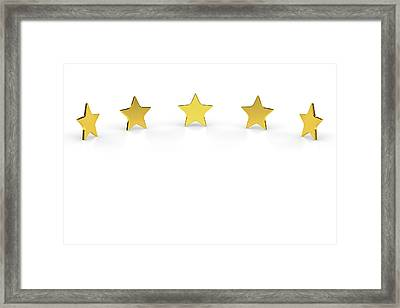 Five Golden Stars On White Background Framed Print by Bjorn Holland