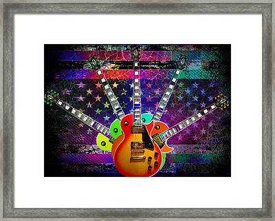 Framed Print featuring the photograph Five Guitars by Guitar Wacky