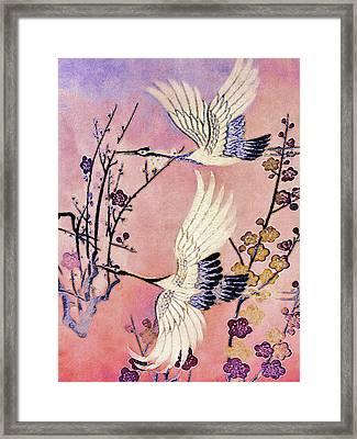 Flight Of The Cranes - Kimono Series Framed Print