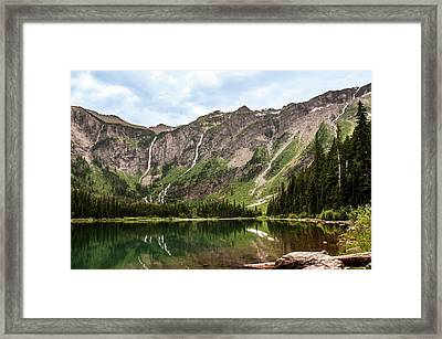 Floral Park Falls Monument Falls Avalanche Basin Falls Across Avalanche Lake Glacier National Park Framed Print