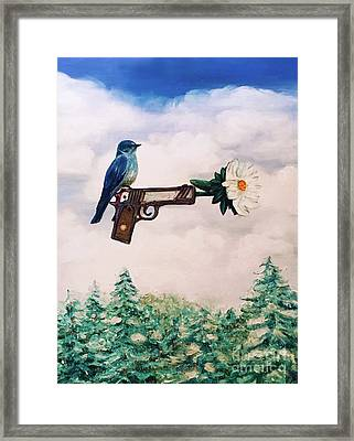 Flower In A Gun- Bluebird Of Happiness Framed Print
