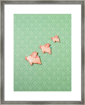 Flying Pig Ornaments On Wallpapered Framed Print