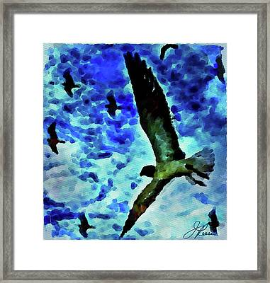 Framed Print featuring the painting Flying Seagulls by Joan Reese
