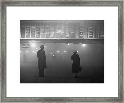 Fog At Liverpool Street Framed Print by Edward Miller