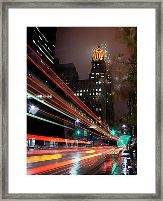 Foggy Night, City Lights Framed Print by Bill Barfield