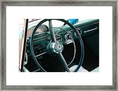 Framed Print featuring the photograph 1955 Ford Fairlane Steering Wheel by Debi Dalio