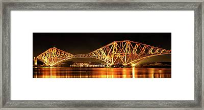 Framed Print featuring the photograph Forth Railway Bridge - Night by Grant Glendinning