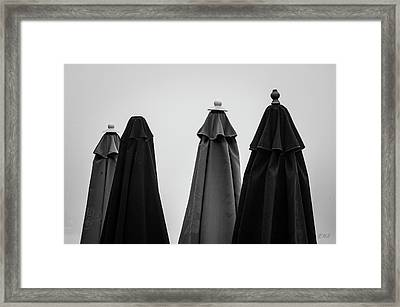 Framed Print featuring the photograph Four Umbrellas Bw by David Gordon