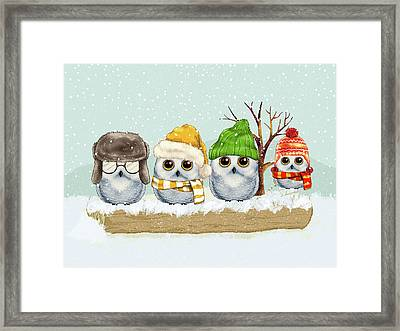Four Winter Owls Framed Print