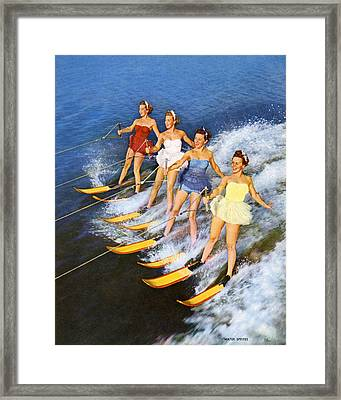 Four Women Waterskiing Framed Print