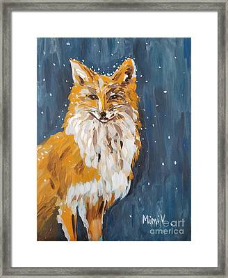 Framed Print featuring the painting Fox Winter Night by Maria Langgle