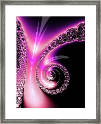 Framed Print featuring the photograph Fractal Spiral Pink Purple And Black by Matthias Hauser