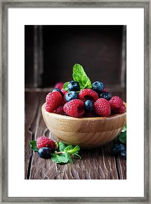 Fresh Sweet Raspberry And Bluberry Framed Print by Oxana Denezhkina