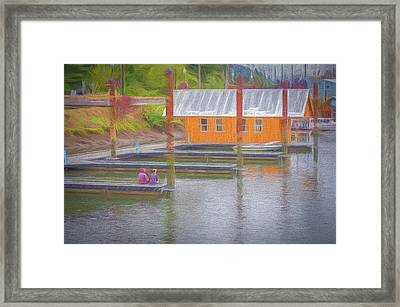 Framed Print featuring the photograph Friends Sitting On The Dock by Bill Posner