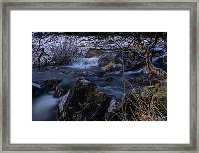 Frozen River And Winter In Forest. Long Exposure With Nd Filter Framed Print