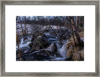 Frozen Stream In Winter Forest Framed Print
