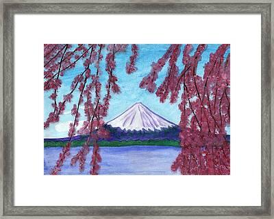 Fuji Mountain And Sakura Framed Print