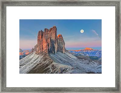 Full Moon Morning On Tre Cime Di Lavaredo Framed Print