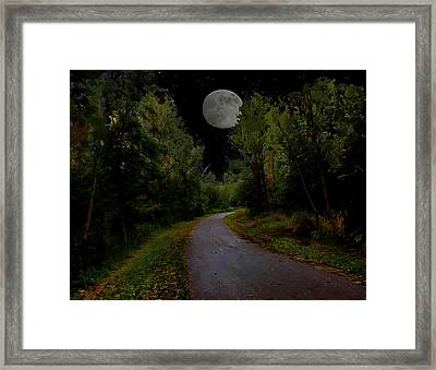 Full Moon Over Forest Trail Framed Print by Cedric Hampton