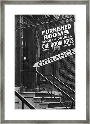 Furnished Rooms Framed Print by Fred W. McDarrah